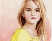 Custom Illustrated Child Portrait Digital Format Original Sketch