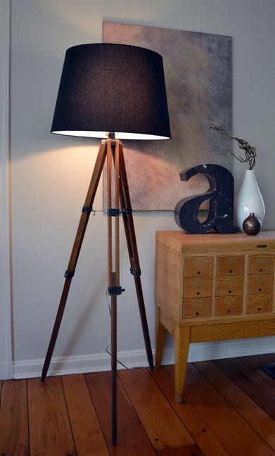 Vintage wooden tripod floor lamp upcycled by dwellbeing on for Wooden floor lamp etsy