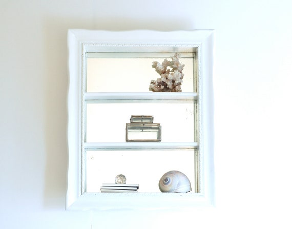 RESERVED FOR YASMIN Vintage Mirror Backed White Curio Shelves-Shabby Display Shelf