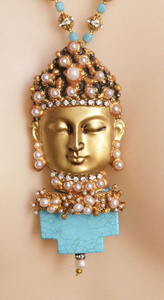 RESERVED Buddha Necklace18K Beads Rhinestones Pearls Turquoise by TOBY JONES