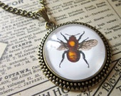 Vintage Bee Necklace - Steampunk Cabochon Pendant Insect