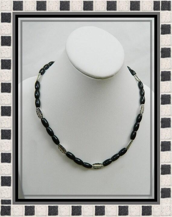 Mens black onyx necklace