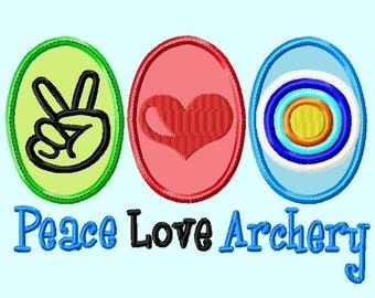 Peace Love Archery APPLIQUE Embroidery Design INSTANT DOWNLOAD