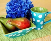 CLEARANCE SALE Aqua Dot Mug and Bowl Set