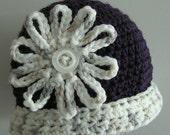 Special Order for Patricia.  Eggplant and Off-White Crochet Cloche - with brim.  Fits 5 year old.