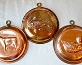 Vintage copper molds...country kitchen...French kitchen...rustic...shabby chic...