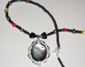 Royal Touch Hematite with Red, Gold and Green Heart Shell Pendant Necklace