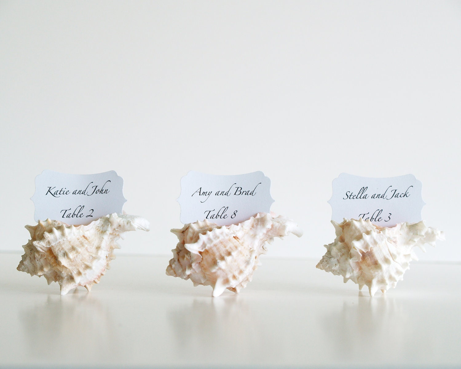 Beach wedding place cards wedding table by fairyfolkweddings for Place card for wedding