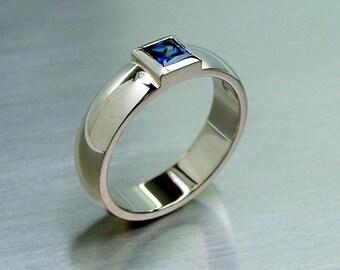 Blue sapphire ring, white gold, princess cut sapphire, bezel, engagement ring, unique, sapphire engagement, wide ring
