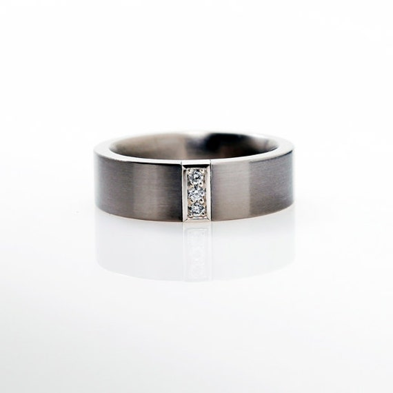 Palladium Wedding Band Mens Diamond Ring Men By TorkkeliJewellery