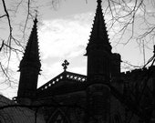 Gothic Photo, Cathedral Photo, England, Old Church, Black And White Wall Art, Medieval Decor
