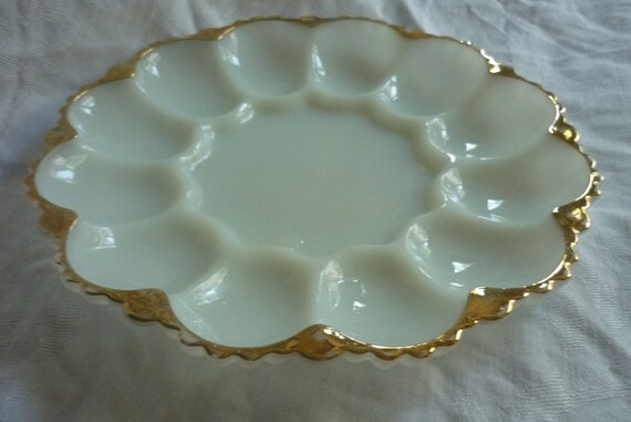 Milk Glass Fire King Deviled Egg / Relish Serving Tray