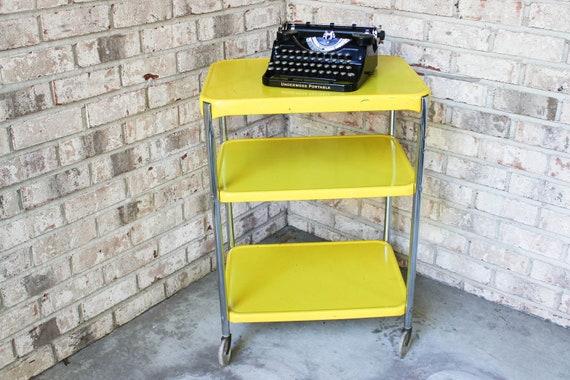vintage yellow cosco 1950s chrome kitchen 3 shelf utility cart with
