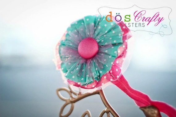 Shabby Chic polka dot hot pink and turquoise green fabric and tulle Yo Yo Flower Hair clip Headband with button / Girl / Woman