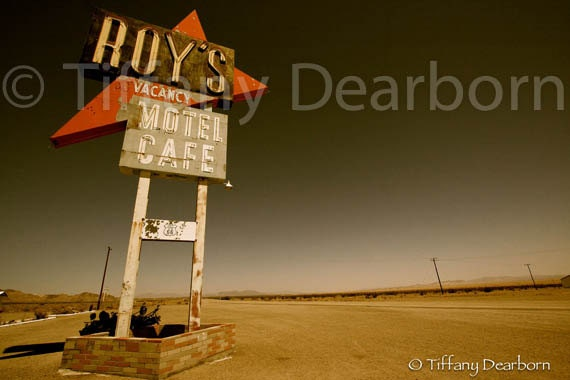 route 66 vacancy - Roy's abandoned motel cafe in desert ghost town, Amboy, California- 8x10 Matte color print