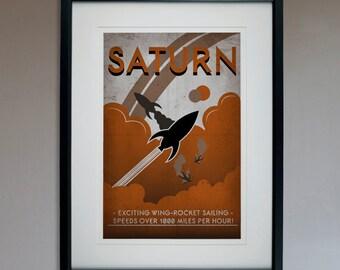 Retro Sci-Fi Saturn Travel Poster - 13x19 Print