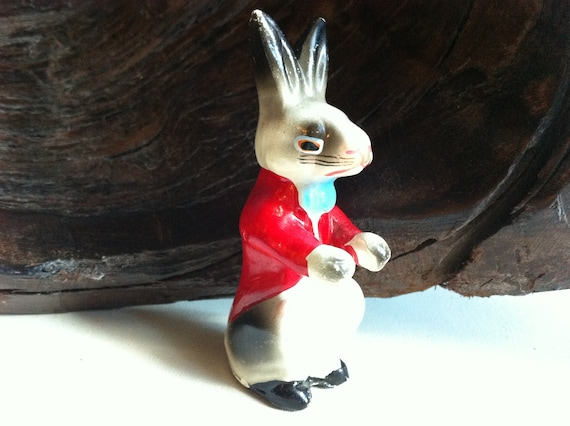 Chalk Art Rabbit Figurine with Seriously Red Coat