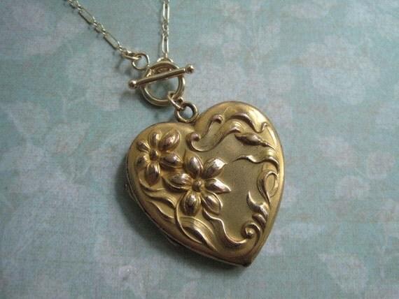 RESERVED Art Nouveau Locket, Antique Heart Locket, Gold, Initials MN, Wedding Locket