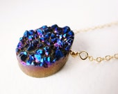Electric Blue Druzy Teardrop Necklace - Galactic Space Necklace, Gift for Her, Under USD 50