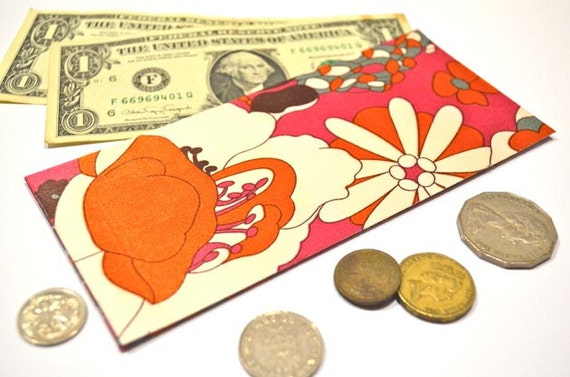 Fabric Money Envelope: Pink, Red and Flowery