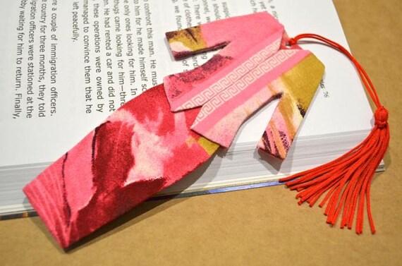 Malaysian Traditional Baju Kebaya Fabric Bookmark (Batch 4): Pink and Red Abstract