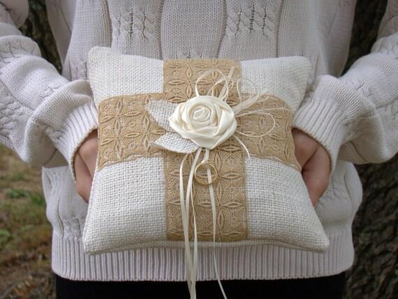 Burlap Ring Pillow, Ring Bearer, Wedding Ring Pillow, Rustic Wedding, Burlap Wedding, White, Vintage Lace