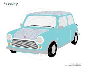 Mini classic car applique PDF template - applique pattern design