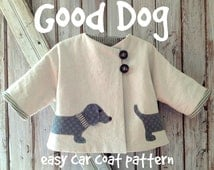 Good Dog - Car Coat PDF Sewing Pattern. Girl or Boy jacket pattern. Unisex sewing pattern.  Kid's clothing. Sizes 1/2 - 6
