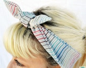 Headband. Rockabilly hair wrap. Head scarf. Ombre. Pin up. Stripes. Green. Blue. Red. Orange. White. Yellow.