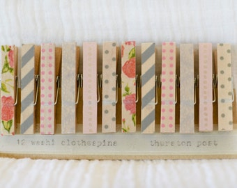 Washi Tape Covered Clothespins Set of 12 Mini Clothespins Pink Gray