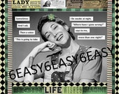 Original collage Humor Mature Sarcastic quote  Work of Canvas Art Retro Lady Housewife Voices in the Night