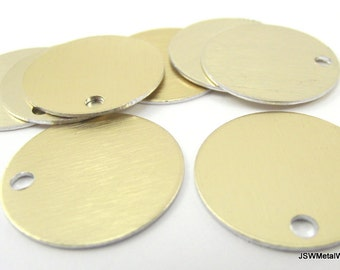 20 1 Inch Brushed Gold Aluminum Tags, Large Blank Discs