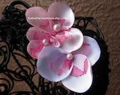White & Pink Lace Flower Headband