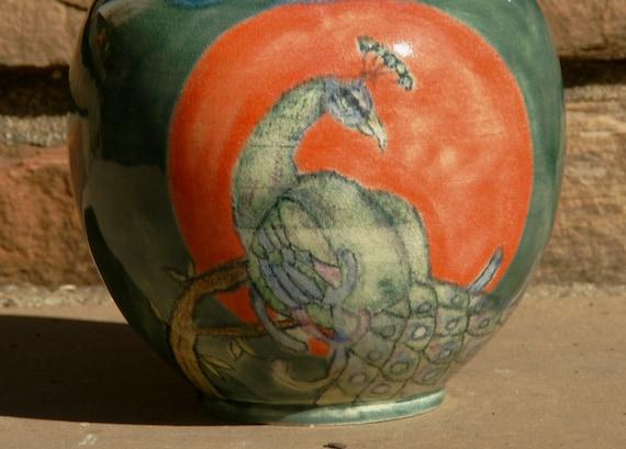 Peacock Vase - Hand thrown Pottery, stoneware, sunset orange and sea green