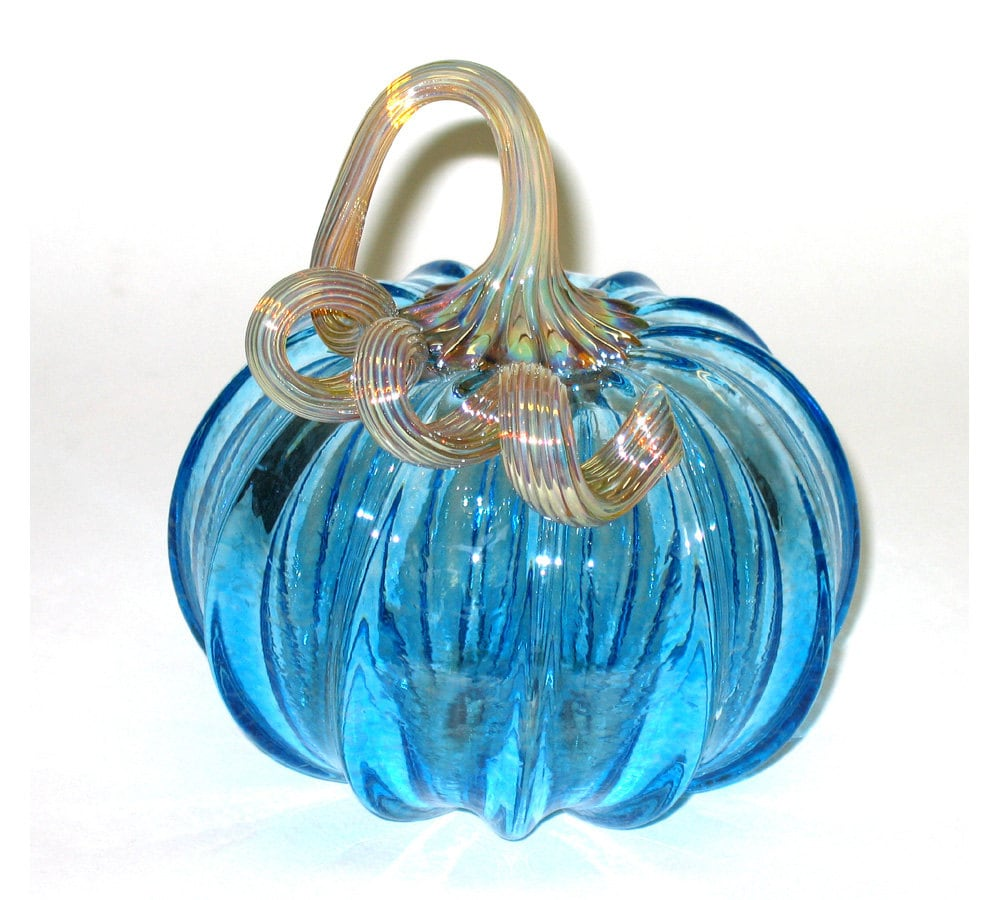 Hand blown clear glass ornaments - Hand Blown Glass Pumpkin