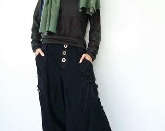 NO.95 Black Cotton Jersey Casual Harem Pants, Unique Pockets Drop-Crotch Trousers, Unisex Pants