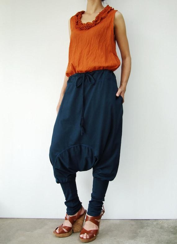 NO.58 Deep Teal Cotton Jersey Harem Pants, Yoga Pants,  Drawstring Trousers, Unisex Pants
