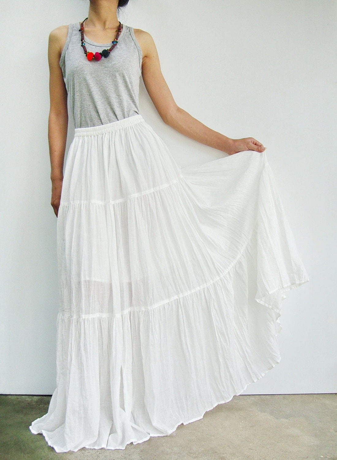 Long White Peasant Skirt 94