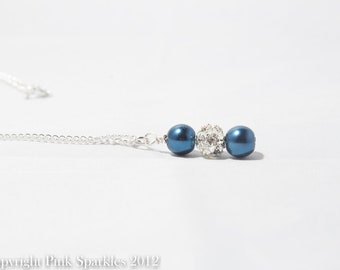Midnight Blue Pearl Necklace, Rhinestone Necklace