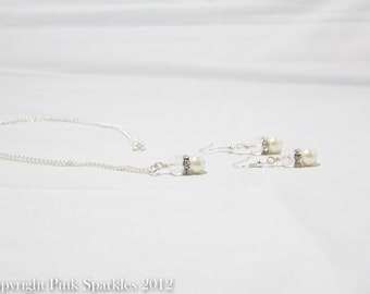Ivory Pearl Jewellery Set, Pearl and Crystal, Necklace and Earrings Set, Bridal Jewellery, Wedding Jewellery, Bridesmaid Jewellery