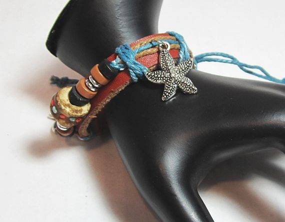 Bracelet leather waxed turquoise cotton cord with handcrafted bone bead 5 to 9 inch adjustable charm cuff