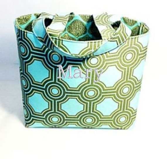 Tote Bag Fabric Handmade Tote Custom Embroidered with Monogram Amy Butler