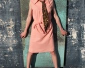 "Vintage  ""JCPenney"" Coral Polo Dress with Matching Belt and Button Detail"