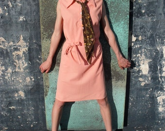 """Vintage  """"JCPenney"""" Coral Polo Dress with Matching Belt and Button Detail"""