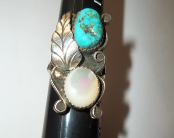 Native American Turquoise and Sterling Silver Ring size 7 3/4  Thanksgiving, Black Friday, Cyber Monday, Christmas