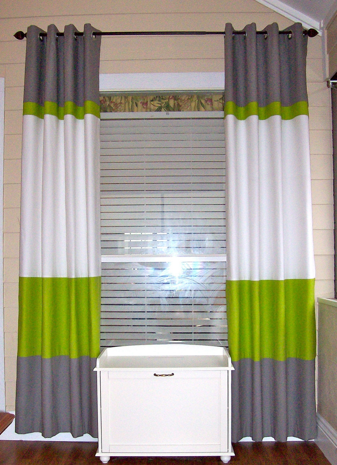 Color Block Curtain Panels Horizontal Stripe By