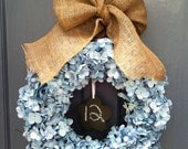 Blue Hydrangea Wreath with Burlap Ribbon and Chalkboard Accent