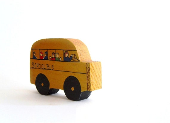 Yellow School Bus. Painted Cut-Out. Decorative Toy.