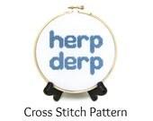 Herp Derp Meme Counted Cross Stitch Pattern