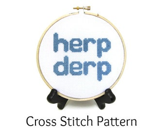 Herp Derp Meme Counted Cross Stitch Pattern